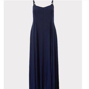 Torrid navy blue challis maxi dress